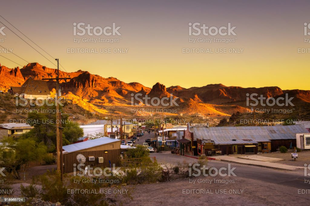 Sunset in Oatman on  Route 66 in Arizona stock photo