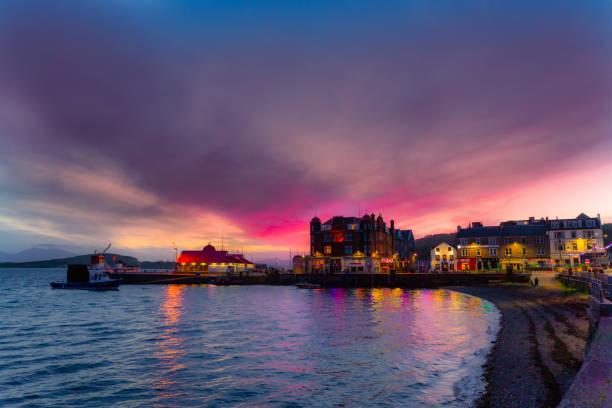 Sunset in Oban, Scotland stock photo