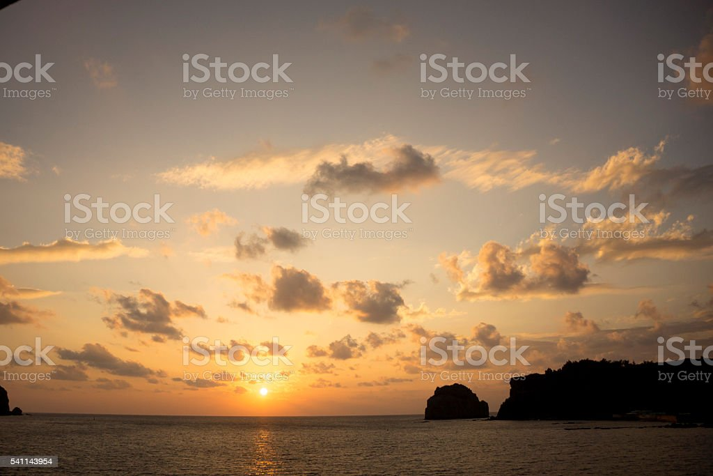 Sunset in Ogasawara's see stock photo