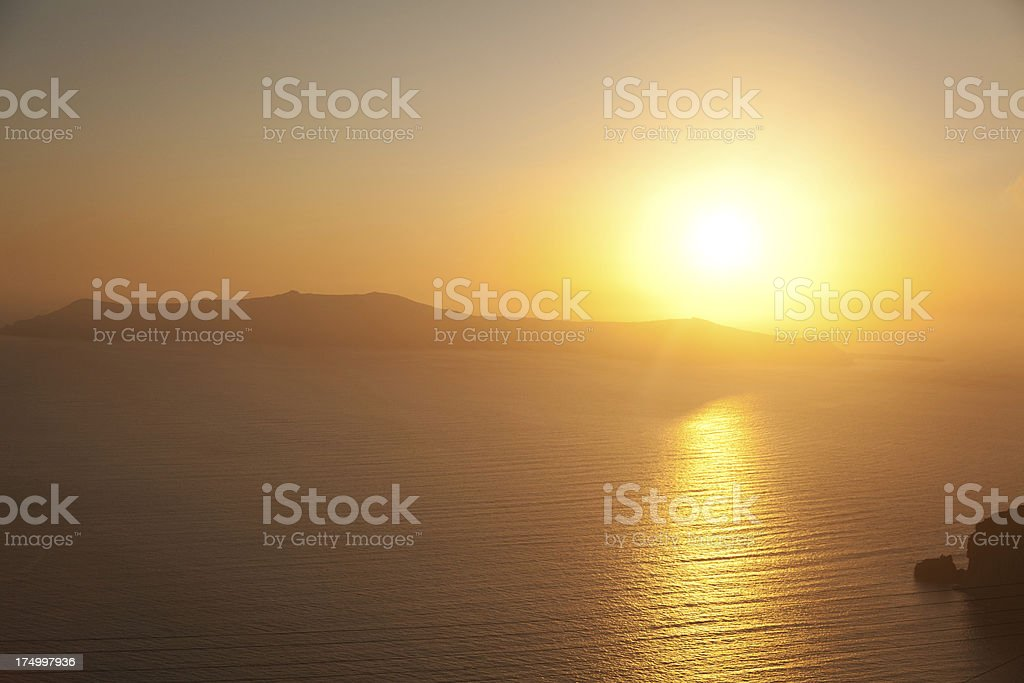 Sunset in Oia, Santorini royalty-free stock photo