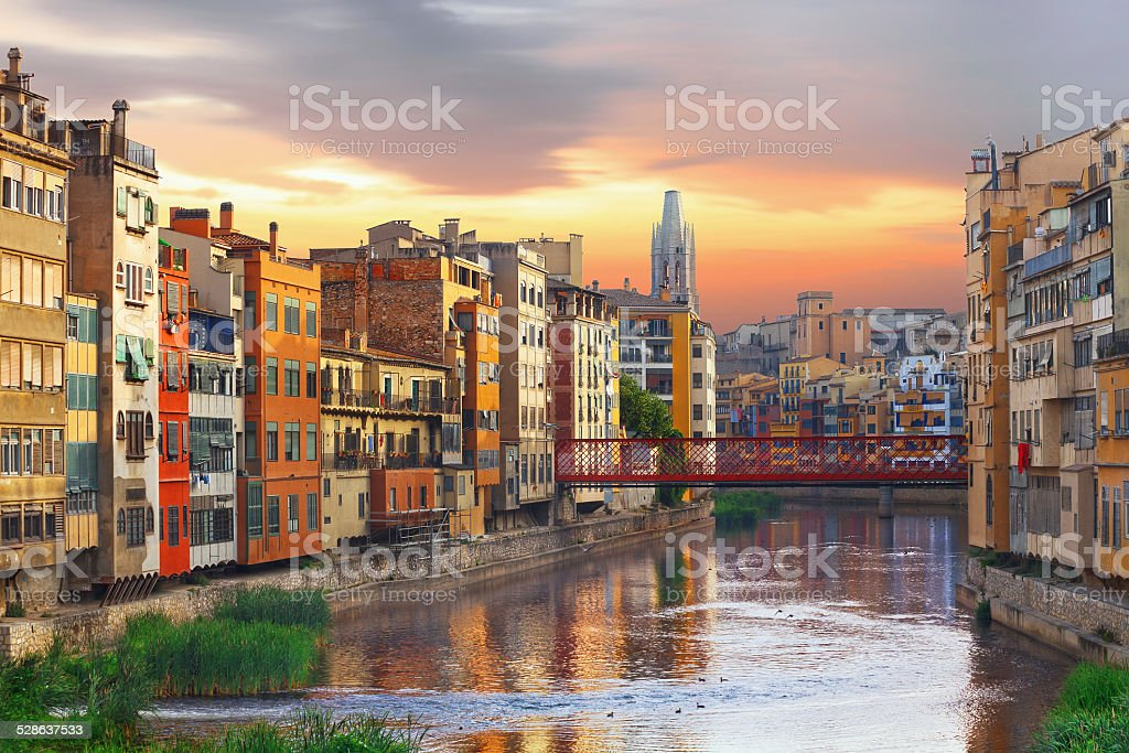 Sunset in Old Girona town,  view on river Onyar stock photo