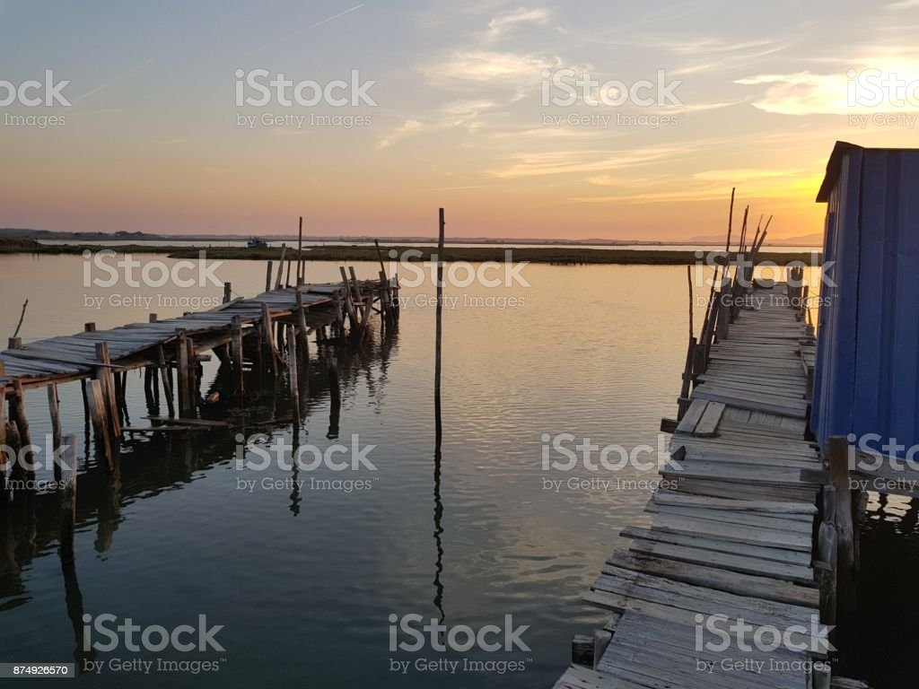 Sunset in old harbor stock photo