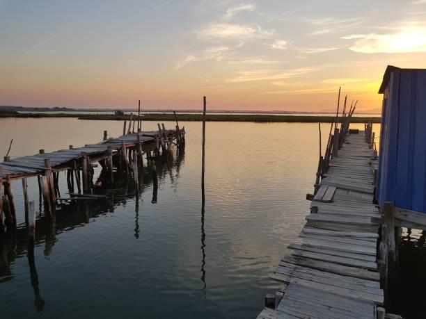 Sunset in old harbor - fotografia de stock