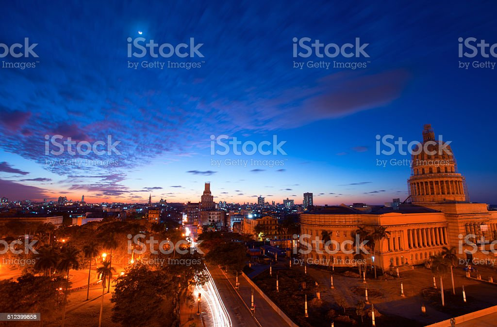 Sunset in Old Havana with  the Capitol building stock photo