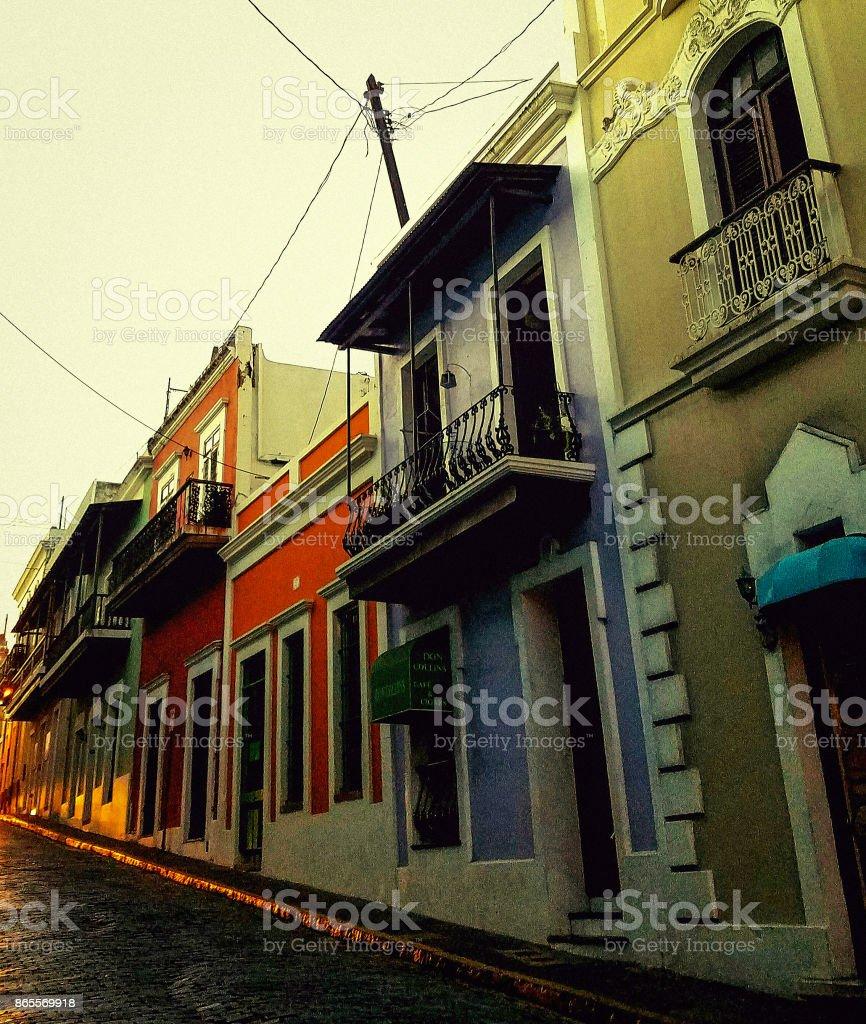 Sunset in Old San Juan stock photo