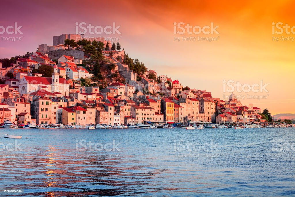 Sunset in old town of Sibenik, Croatia stock photo