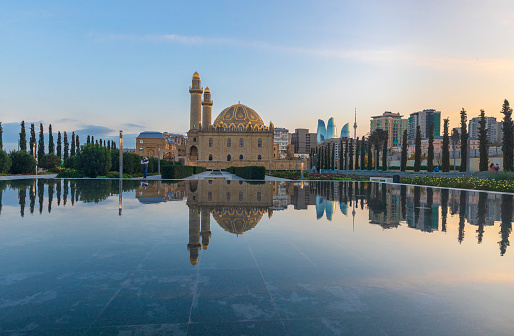 Sunset in one of the parks in Baku