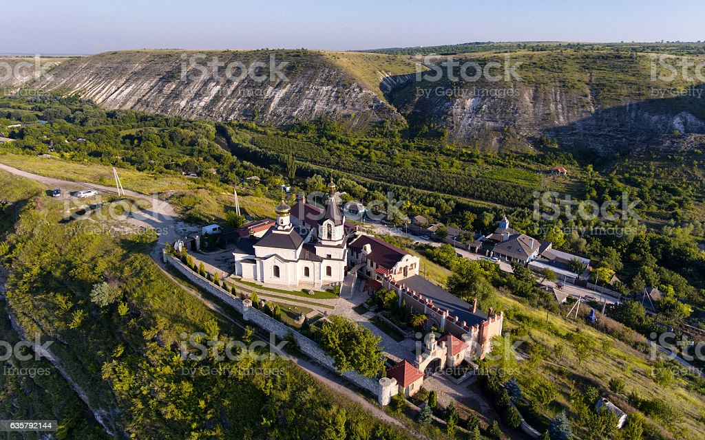 Sunset in Orhei, Republic of Moldova, Aerial view with the stock photo