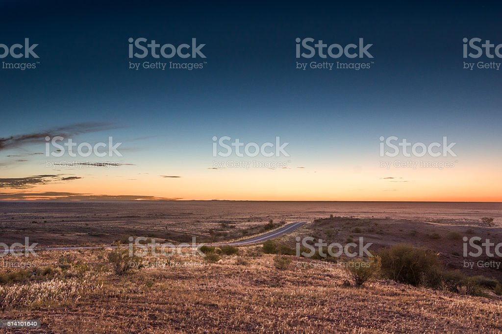 Sunset in Outback Australia near Silverton, NSW stock photo