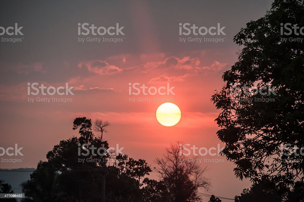 Sunset in Pakse stock photo