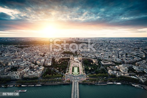 Paris skyline from Eiffel Tower at sunset.