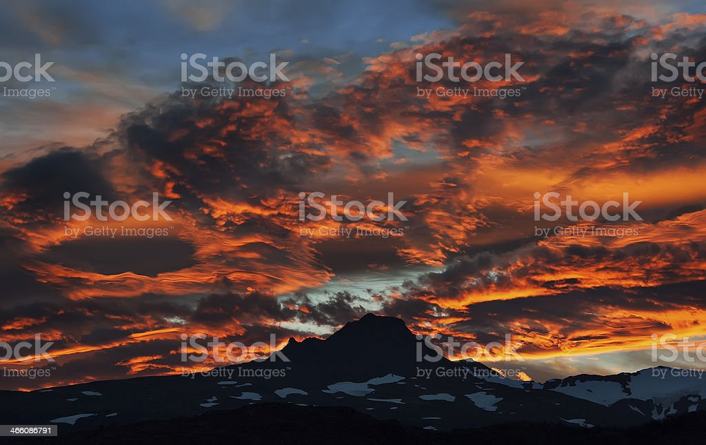 Sunset in Patagonia, Chile stock photo