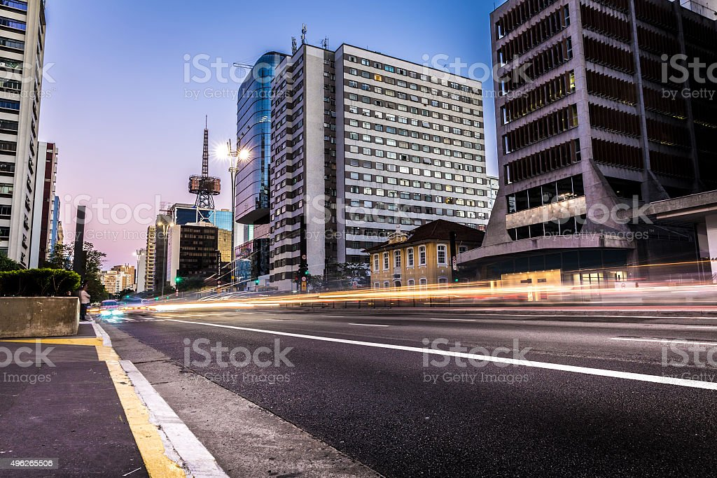 Sunset in Paulista Avenue in Sao Paulo, Brazil stock photo
