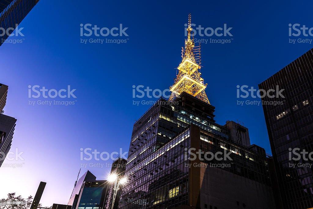 Sunset in Paulista Avenue in Sao Paulo, Brazil stock photo
