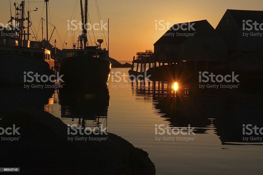 Sunset in Peggy's Cove royalty-free stock photo