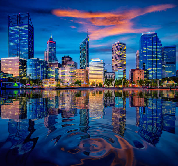sunset in perth city with building and river - western australia stock pictures, royalty-free photos & images