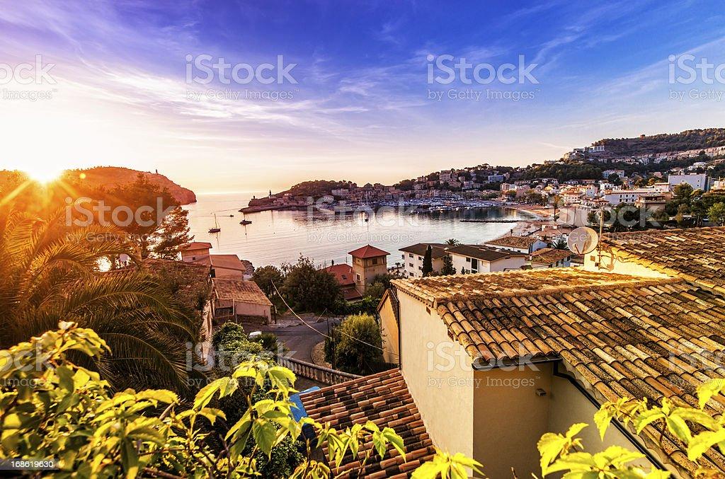 Sunset in Port De Soller (Mallorca) royalty-free stock photo