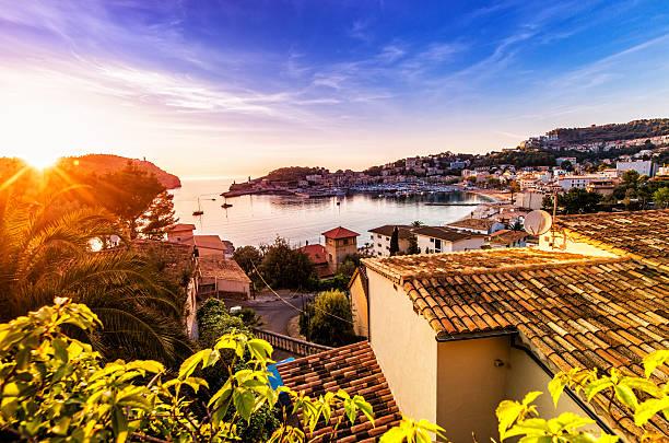 Sunset in Port De Soller (Mallorca) stock photo