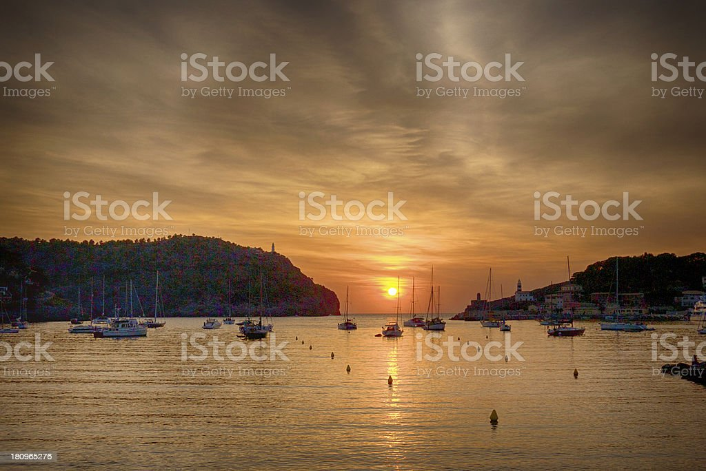 Sunset in Port De Soller (Mallorca) royalty-free stock photo