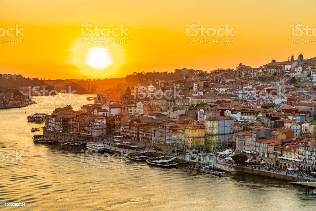 Sunset in Porto, Portugal stock photo