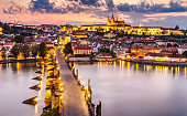 Twilight in charles bridge with mala strana distric and Prague Castle. Prague. Czech Republic