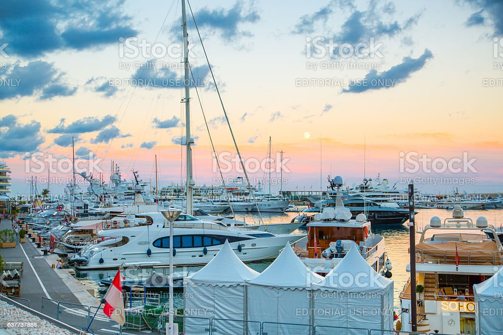 Sunset in Principality of Monaco. Seaport with yachts stock photo