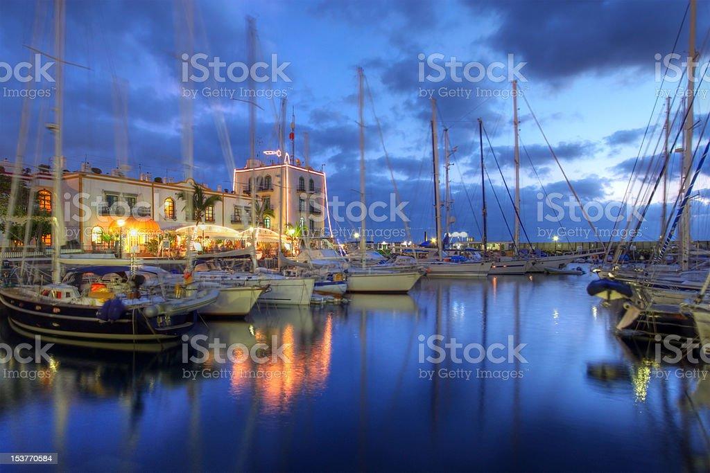 Sunset in Puerto de Mogan, Gran Canaria, Spain stock photo