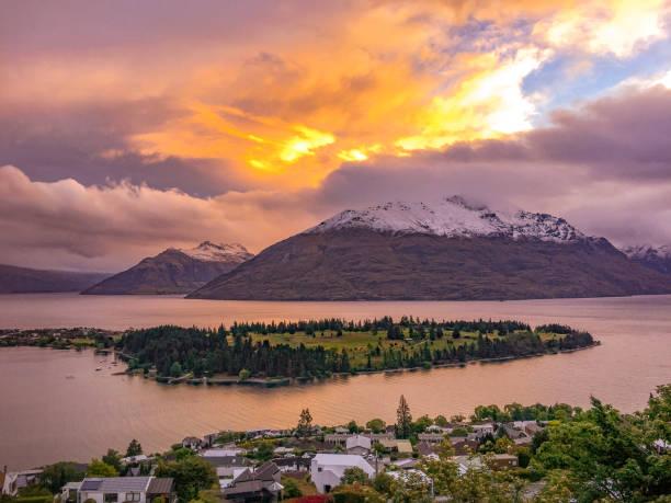 Sunset in Queenstown, New Zealand stock photo