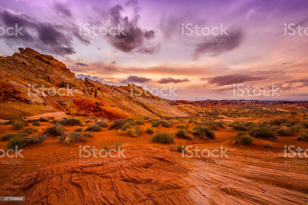 Sunset in Red Rock Canyon stock photo
