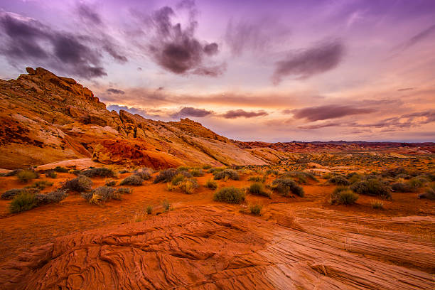 sunset in red rock canyon - red rocks stock pictures, royalty-free photos & images