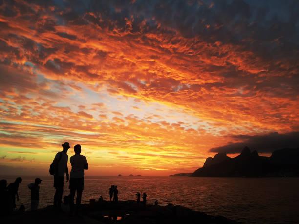 Sunset in Rio de Janeiro - Ipanema - Arpoador stock photo