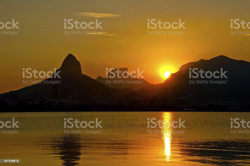 Sunset in Rio de Janeiro royalty-free stock photo