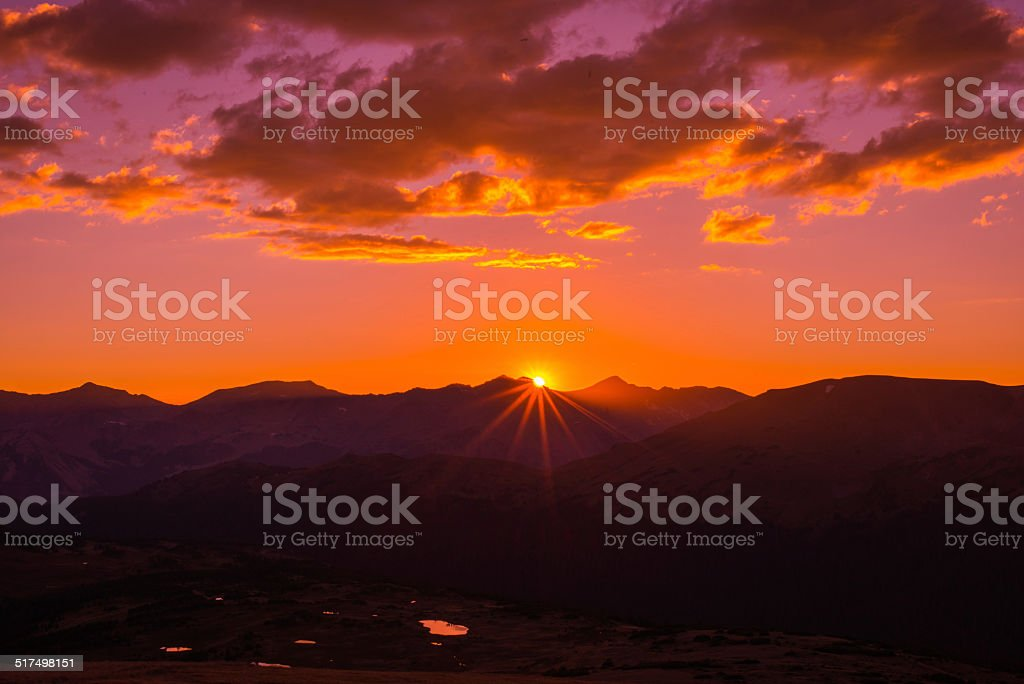 Sunset in Rocky Mountain National Park stock photo