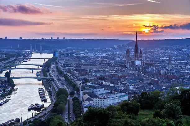 Sunset in Rouen stock photo