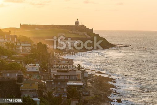 View at sunset from Fort San Cristóbal in San Juan, Puerto Rico. In the distance is Castillo San Felipe del Morro, a 16th-century Spanish fort.