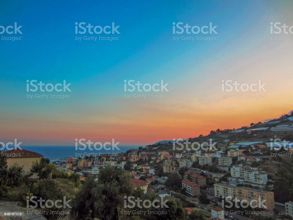 Sunset in San Remo stock photo