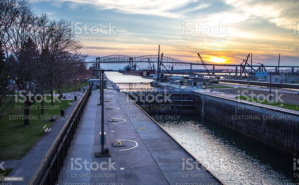 Sunset In Sault Ste Marie Michigan stock photo