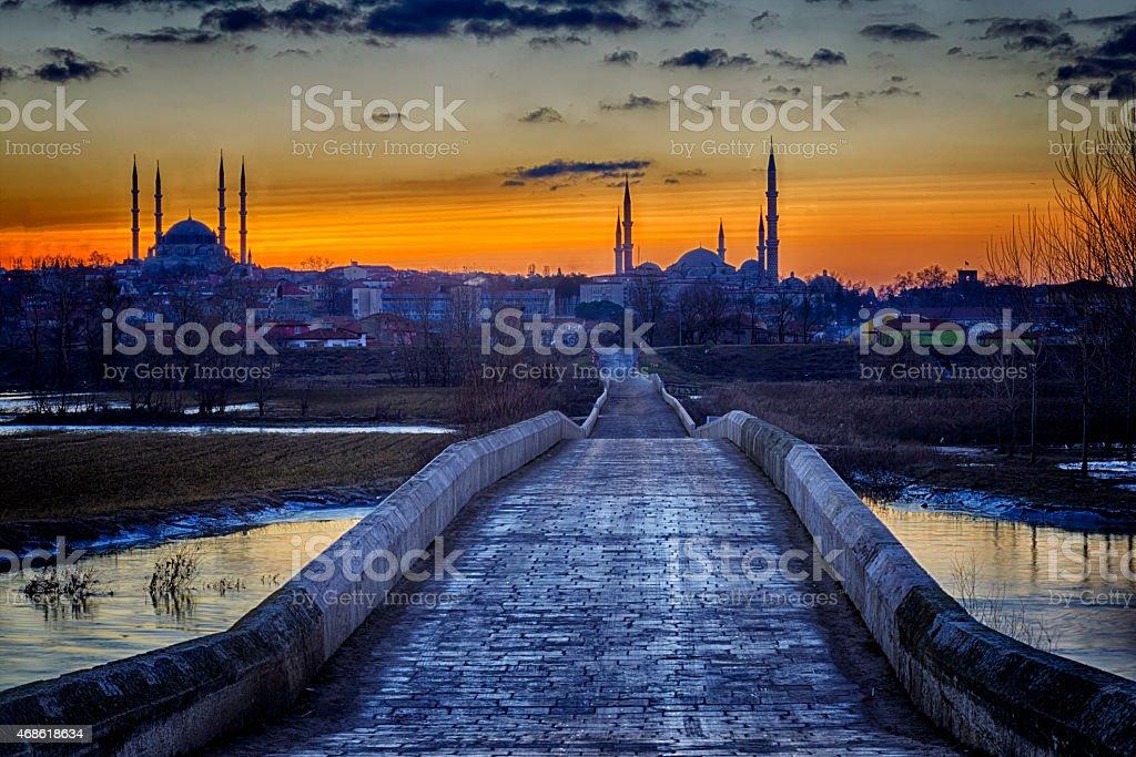Sunset  in Selimiye Edirne stock photo