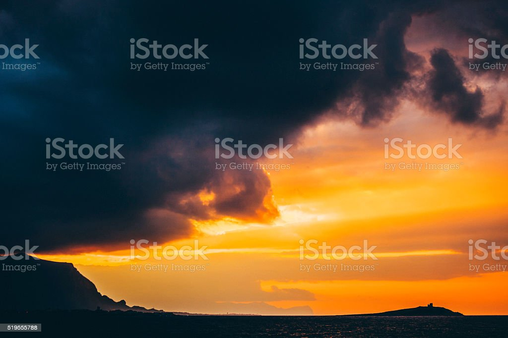 Sunset in Sicily. stock photo