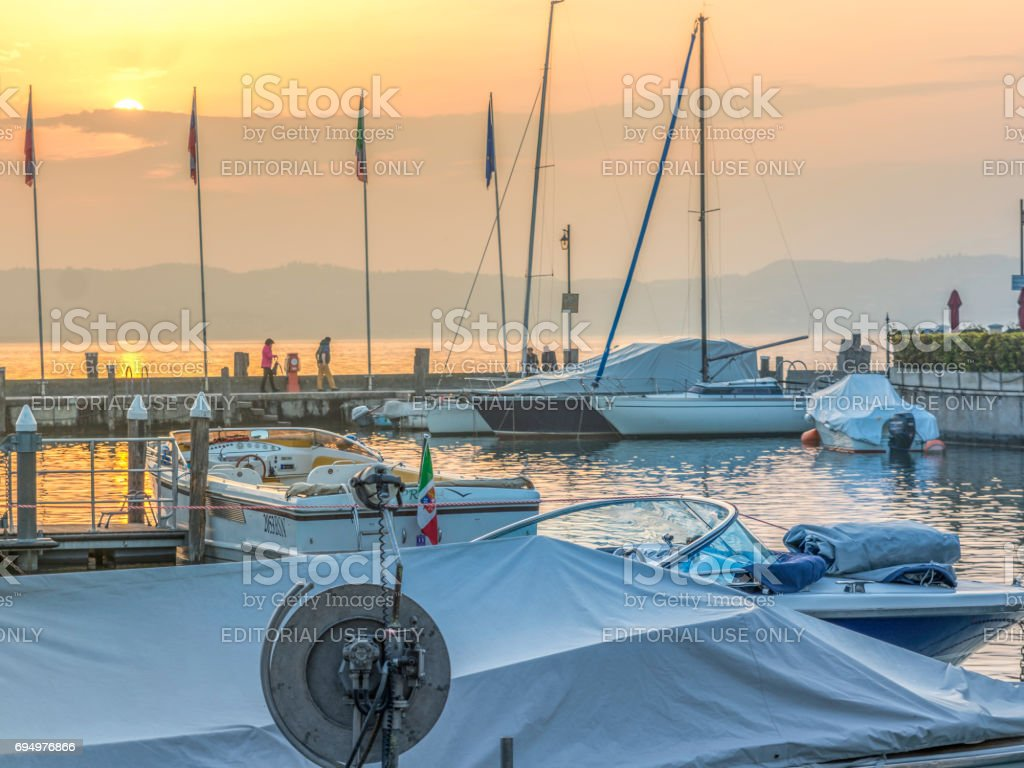 Sunset in Sirmione stock photo