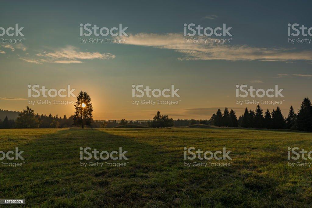 Sunset in Slavkovsky les national park stock photo