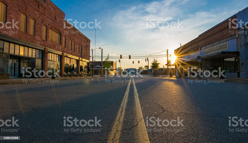 Sunset in Small Town stock photo