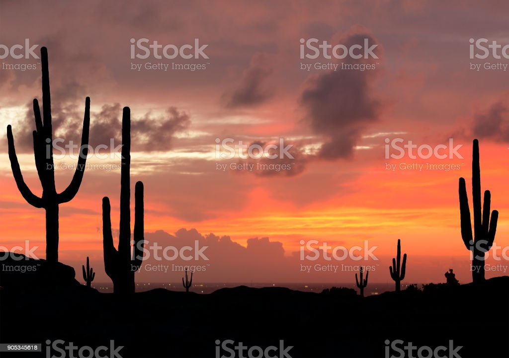 Sunset in Southwest Desert stock photo