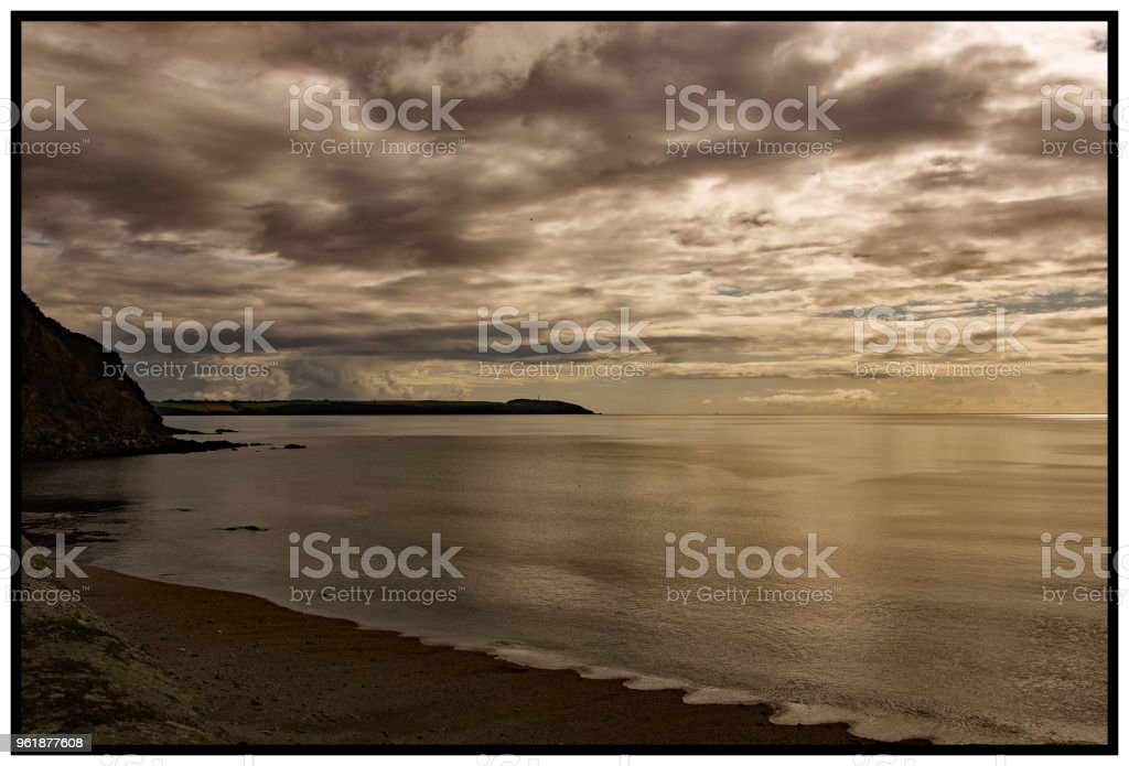 Sunset in St Austell Bay stock photo