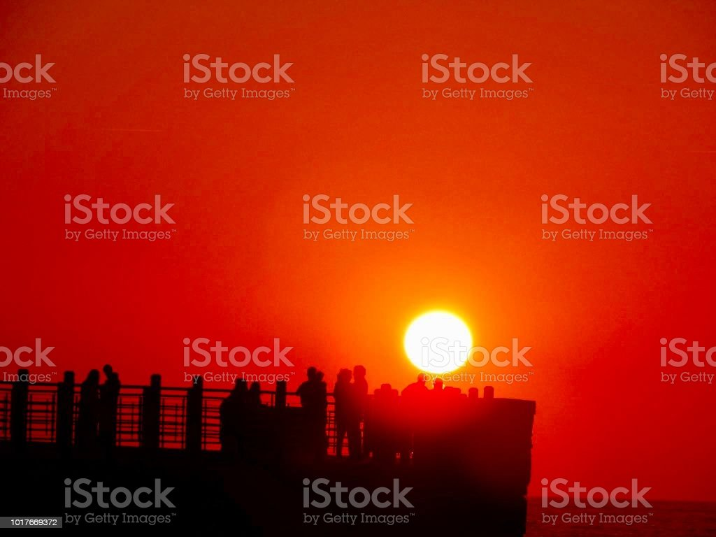 Sunset in St Sebastian stock photo