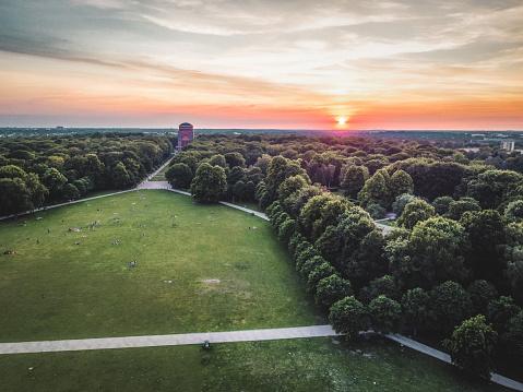 Sunset in Stadtpark Hamburg