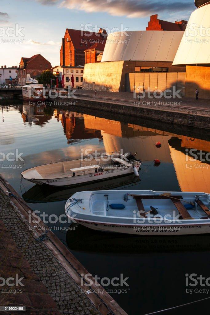 Sunset in Stralsund stock photo