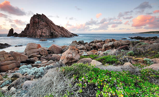 Sunset in Sugarloaf Rock in Margaret River, Western Australia.