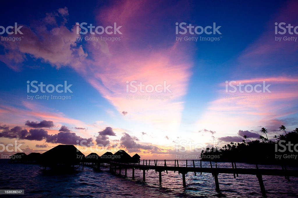 Sunset in Tahiti stock photo