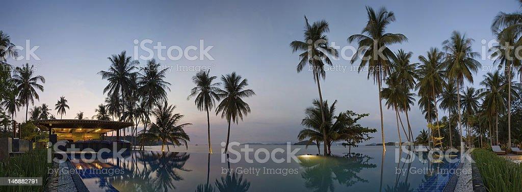 Sunset in Thailand resort stock photo
